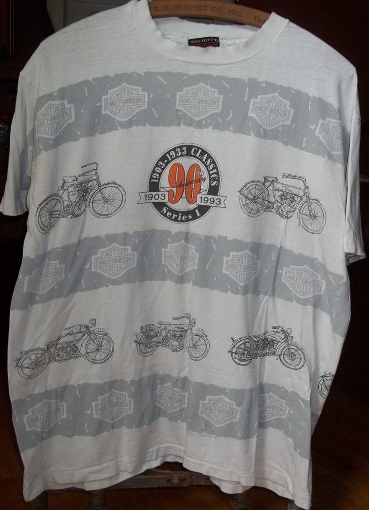 Harley Davidson T-shirt, Vintage T-shirt, 90th Anniversary, Grey and White, Rare Design, Joliet, Illinois, Conrad's Motorcycle Shop, Medium by VintageCoolETC on Etsy
