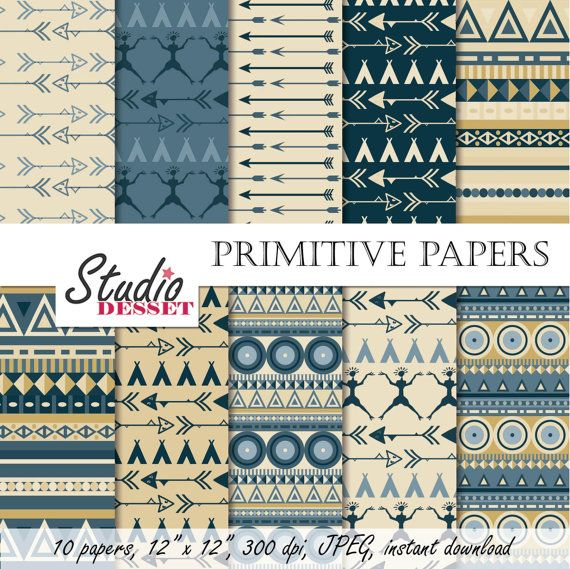 Primitive Digital Paper, Tribal Backgrounds in natural colors, Aztec Arrow, Teepee,  for Scrapbooking, Cards - A005