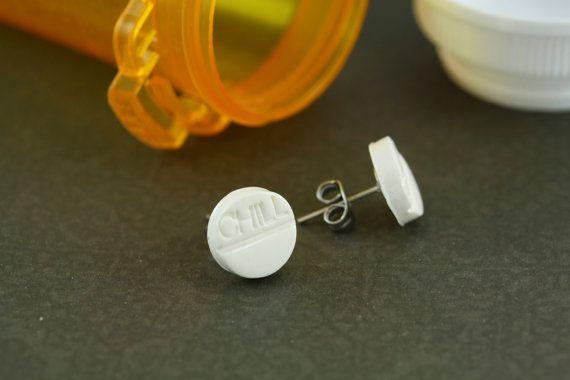 Chill Pill Earrings Pill Earrings Stud Post by rubipotamus on Etsy, $8.00