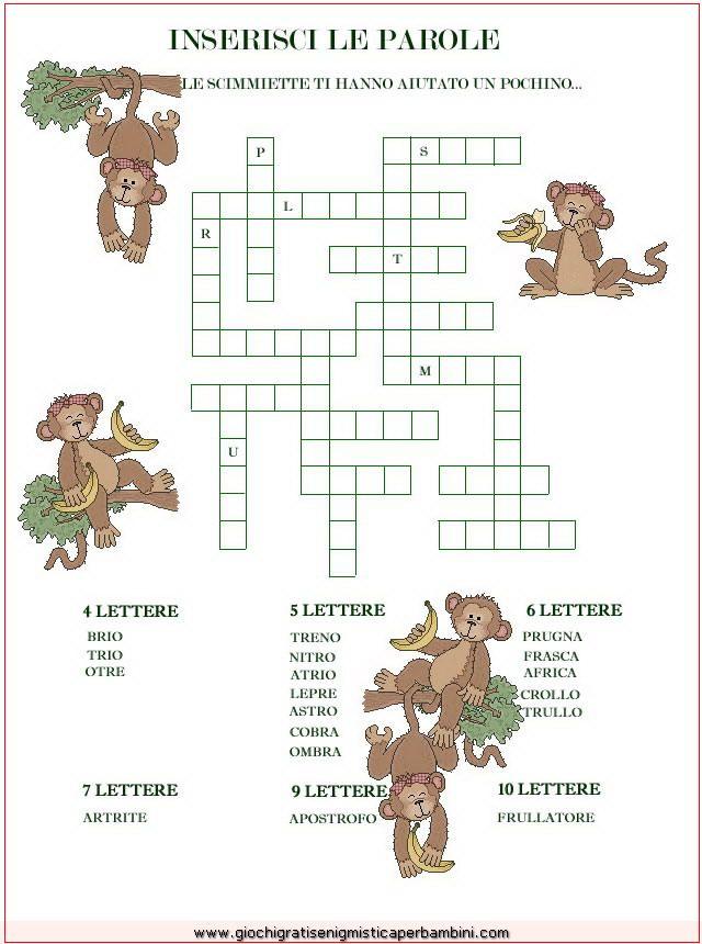 scimmiette Enigmistica per bambini e ragazzi