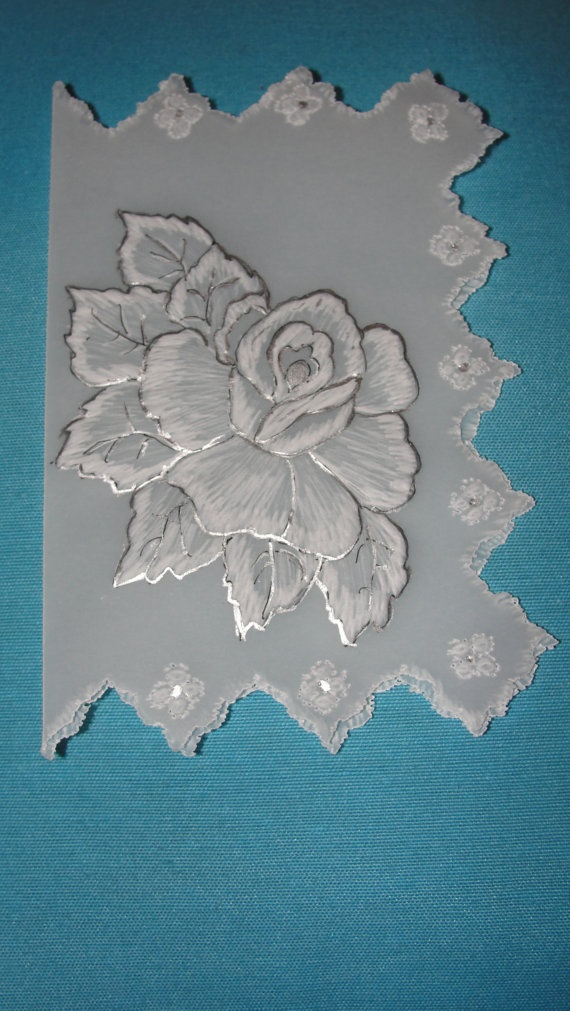 Handmade White Rose Card.  Made using tracing paper and cardboard. Handpainted.