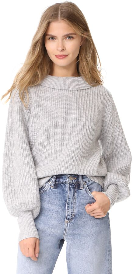 $262 Claudette Sweater by Demy Lee SOLD by Shopbop - Affiliate - chunky sweater with ruffle high neck line