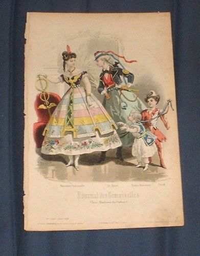 """""""Journal des Demoiselle, January 1868. [...] The lady on the left seems to represent Europe (or perhaps politics or peace).  The dress has France, England, and Russia embroidered on the overskirt hem and what looks like the German imperial eagle on the bodice.  The other lady wears what seems to be a peasant riding outfit.  The older child is dressed as a jester. """"  from listing by suzanne6 on ebay"""