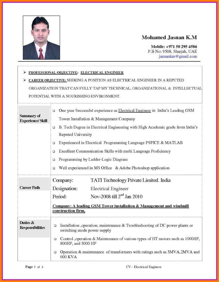 30++ Electrician resume cv format Format