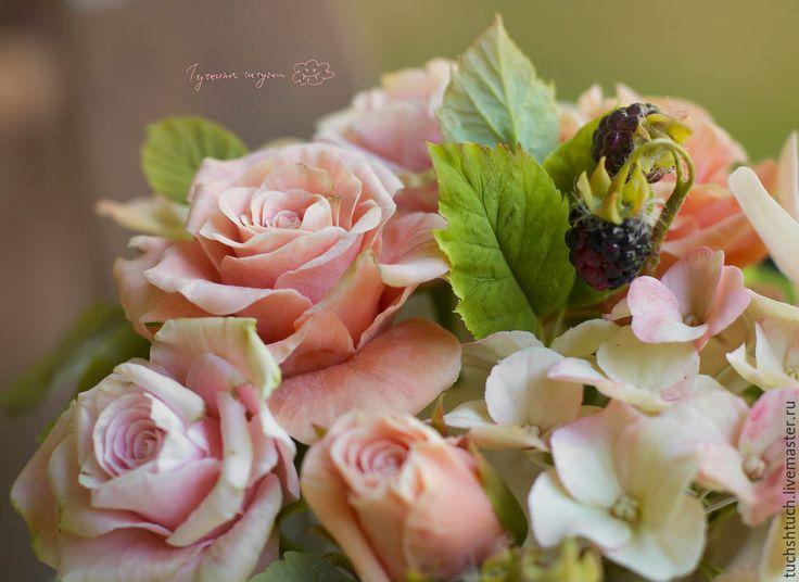 Купить Букет в чашке. - бледно-розовый, розовый, Персиковый цвет, розы, пионы, орхидея фаленопсис