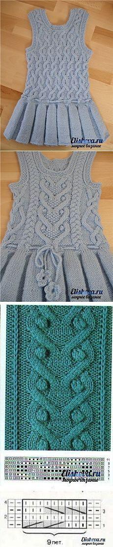 "Теплый детский сарафан с узорами вязаный спицами [ ""Tople dječja haljina s uzorcima za pletenje"" ] #<br/> # #Kids #Crochet,<br/> # #Knitting,<br/> # #Tissue,<br/> # #Of #Agujas,<br/> # #Bebe<br/>"