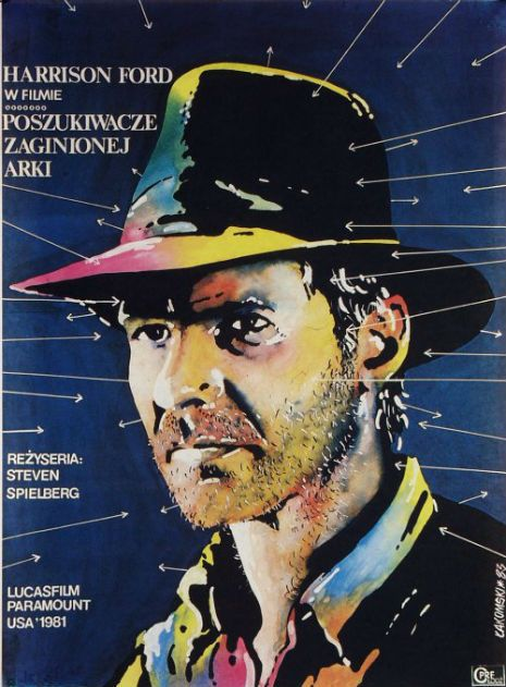 Raiders of the Lost Ark by Mirosław Łakomski, 1981 Polish movie posters of American films.