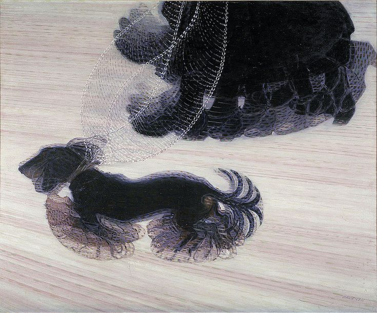 Dynamism of a Dog on a Leash. Balla, Giacomo. 1912. Oil on canvas.91 x 110 cm. Albright-Knox Art Gallery, Buffalo, New York. The repetition of footsteps create a sensation of rapid frame-by-frame movement, as often seen in futurism, artworks are depicting speed.