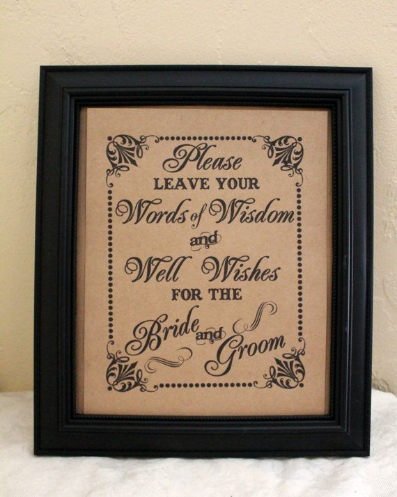 words of wisdom and well wishes for the bride and groom wedding sign single sheet style wisdom bg
