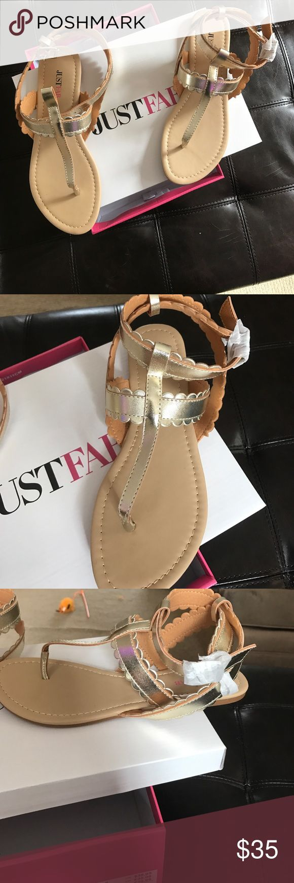 """Gold Flat sandal flat sole, thong toe, and textured strap construction. """"Esmeralda"""" JustFab Shoes Sandals"""