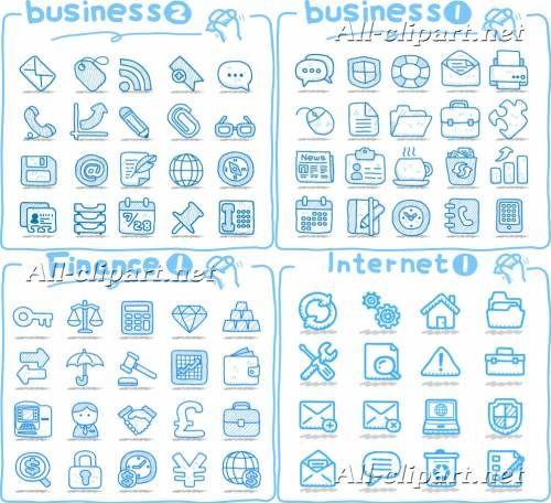 Нарисованные бизнес и интернет иконки в векторе