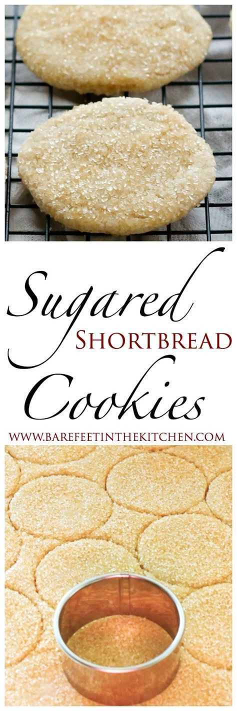 Sugared Shortbread Cookies Recipe - get the recipe at http://barefeetinthekitchen.com
