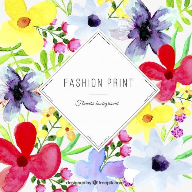 Aquarelle imprimé floral Vecteur gratuit