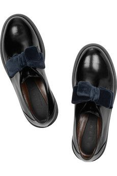 MARNI  Velvet-bow glossed-leather brogues