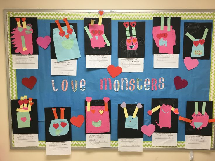 Love Monster Bulletin Board in Kindergarten! Valentines Day