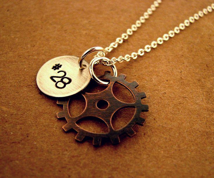 Motocross Sprocket Handstamped Necklace on Etsy. I need # 306