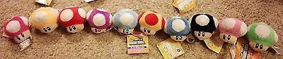 "Super Mario Bros Mushroom Plush Stuffed Keychain New 10 colors 2"" Nintendo"