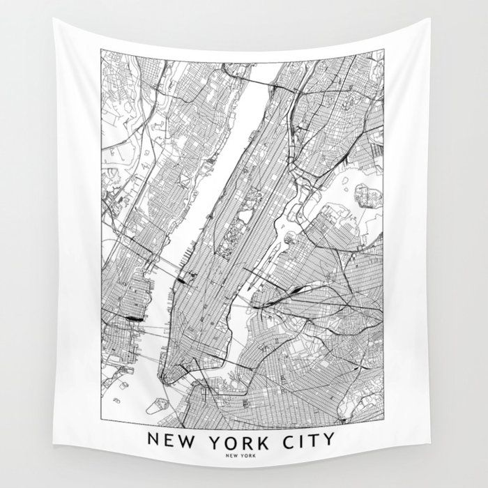 Buy New York City White Map Wall Tapestry By Multiplicity Worldwide Shipping Available At Society6 Com Just One Of In 2020 Tapestry Diy Large Wall Art Wall Tapestry