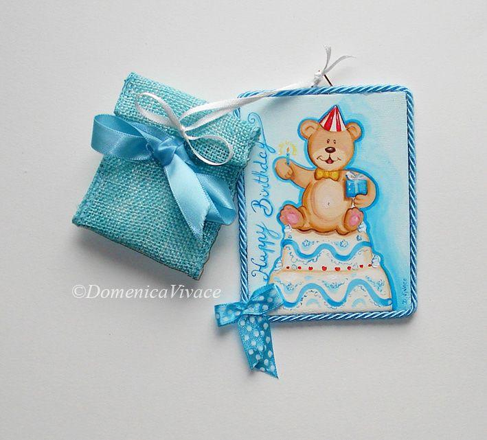 Mini quadretto compleanno cm 7x10 confezionato e dipinto a mano, completo di sacchetto porta-confetti.
