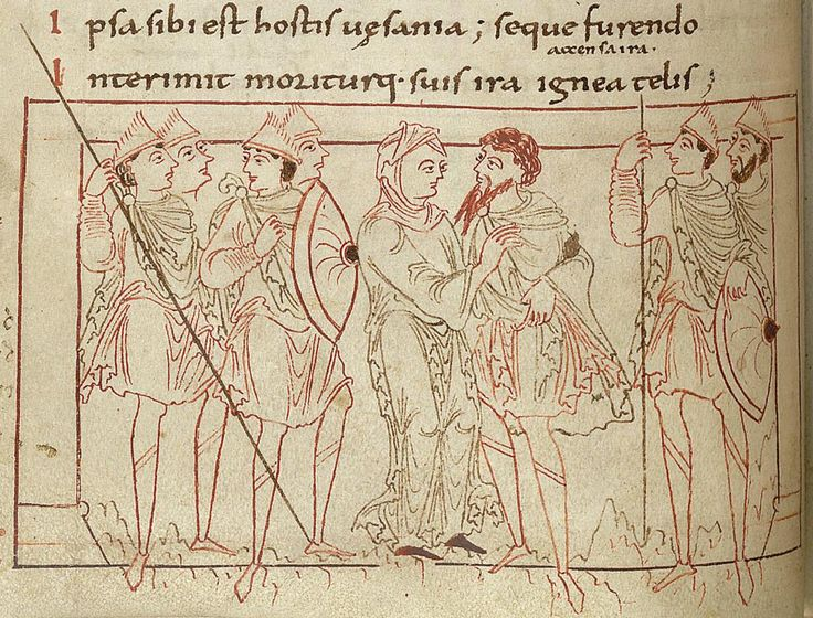 Long-Suffering walks with Job through the battle-lines. Psychomachia 'Conflict Of The Soul', Anglo-Saxon, British Library, MS Cotton Cleopatra C VIII, c.1000