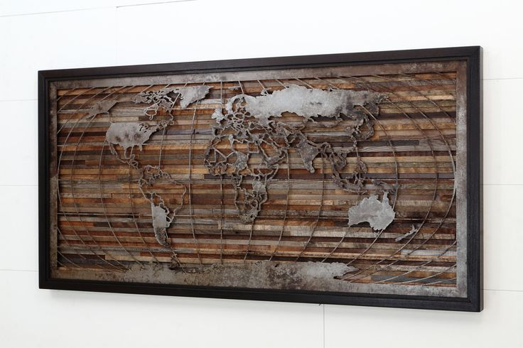 World map artwork made of old barnwood and natural steel by CarpenterCraig