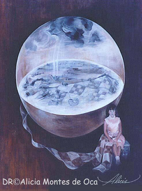 QUILTING BOSCO'S WORLD.  By ALICIA MONTES DE OCA Óleo sobre tela. 110x 90 cm. 1999.