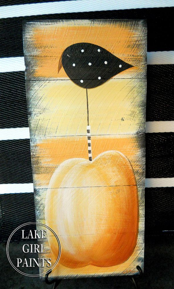How to Paint a Crow and Pumpkin Sign!