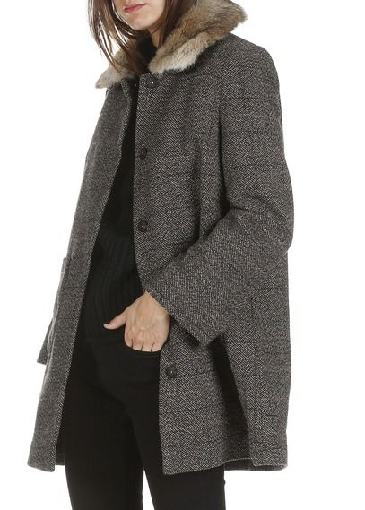 Manteau en tweed col fausse fourrure Marron by SEE U SOON 195.00