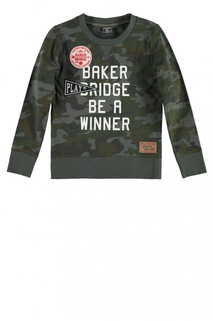 Ronde hals sweater met camouflage print | Baker Bridge