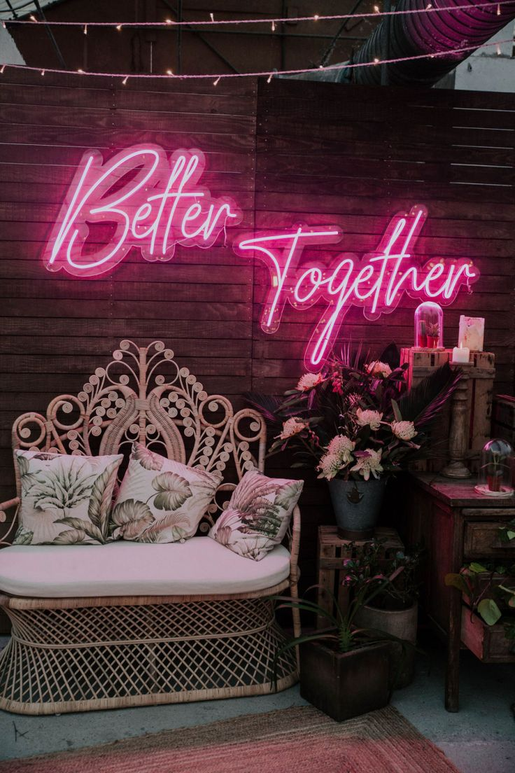 Chillout Zone with Wicker Chair and Pink Neon Better
