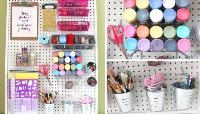 DIY Pegboard for Craft Room with Dollarstore accessories – IKEA HACK