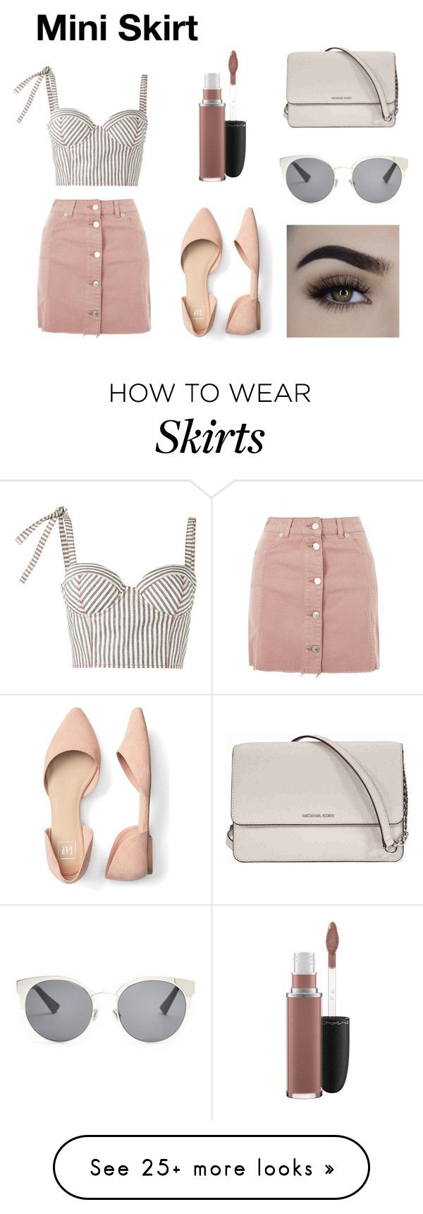 """""""Mini Skirt"""" by bella1170 on Polyvore featuring Topshop, Rosie Assoulin, Christian Dior, MAC Cosmetics and Michael Kors"""