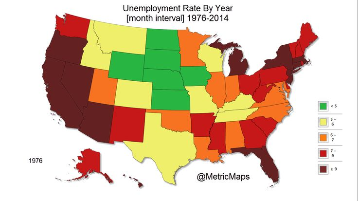 Courtesy of Metric Maps, the map shows how unemployment rates have changed state-by-state from 1976 to 2014.