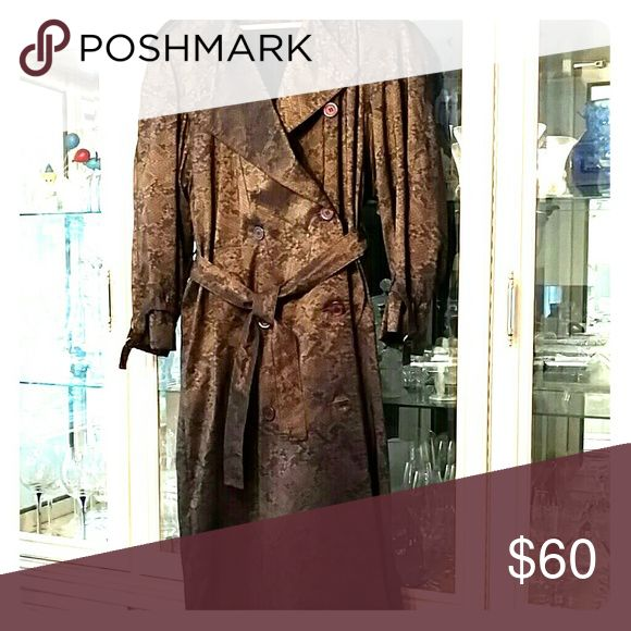 Woman's rain coat Double breasted brown silky snakeskin pattern.  Has zip out lining.  Excellent condition, worn maybe 3 times. Oliver B for o.s.m.  Jackets & Coats Trench Coats
