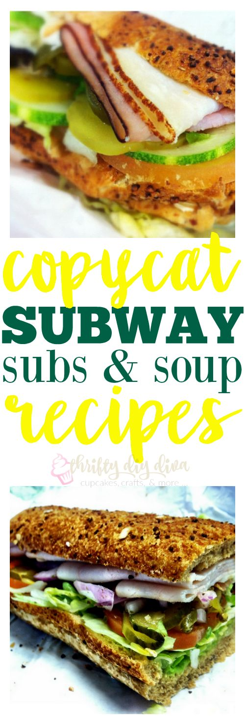 Love Subway? Make these Copycat Subway Sandwich Subs and Soup Recipes, and save money by eating at home! I've been making my own version of their oven roasted chicken breast for years, but it's much juicier!