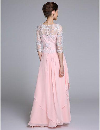 Lanting Невеста Футляр Платье для матери невесты В пол Рукав до локтя Шифон…