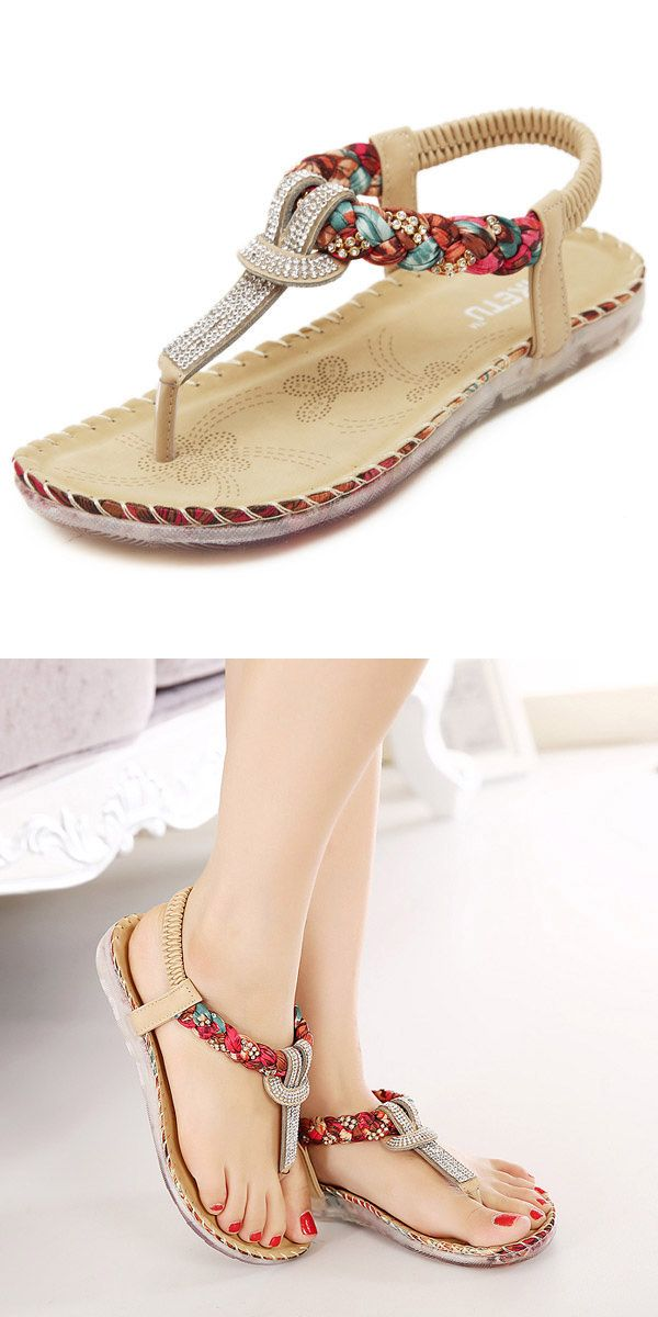 SOCOFY US Size 5-11 Women Summer Bohemian Beach Soft Comfortable Casual  Fashion Flat Sandals Shoes