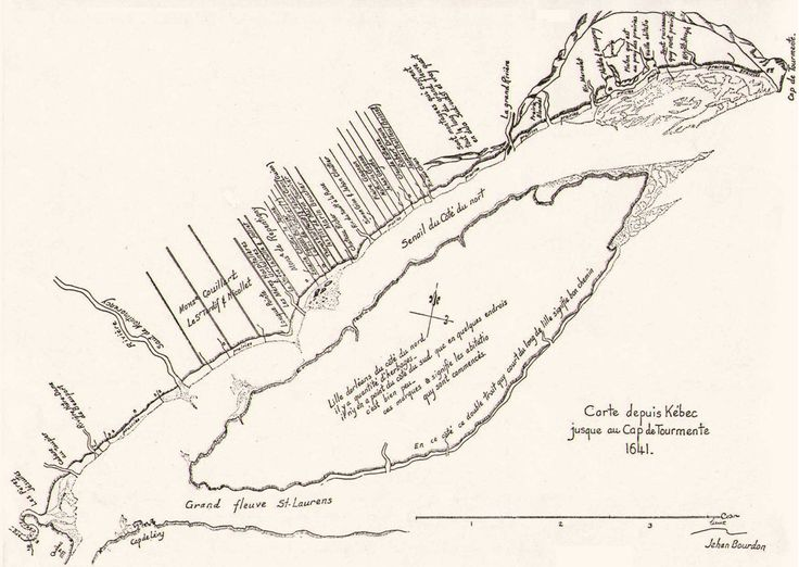 Robert Drouin - In 1641, the surveyor, Jean Bourdon, drew a map of the Beaupré Coast on which we can locate the land of Robert Drouin. It was situated between the properties of Jacques Boissel and Claude Estienne, to the west of Rivière-aux-Chiens.