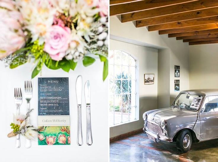 Karoo inspired wedding at Matjiesfontein, with touches of Zimbabwe.Proteas, fynbos, roses, flamelilies, blushing brides, succulents, night sky. Car museum. Event planner | Wedding planner | Florist | Floral designer | Cape Town