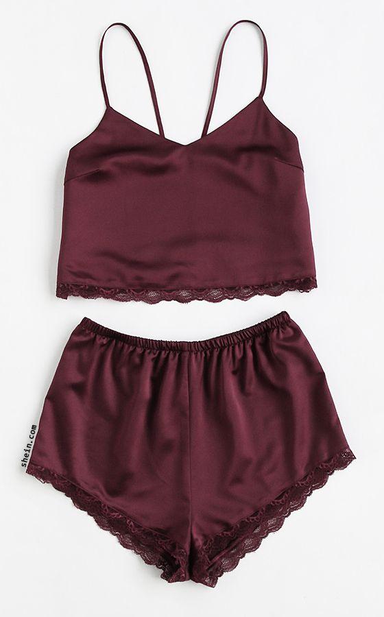 68735b613e Lace Trim Satin Cami And Shorts Pajama Set
