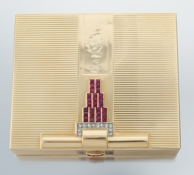 Gold Art Deco Cigarette Case with Diamonds and Rubies