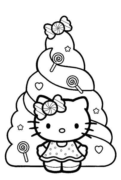 Happy Holidays Coloring Pages | Here are more Happy Holidays Hello Kitty coloring sheets...