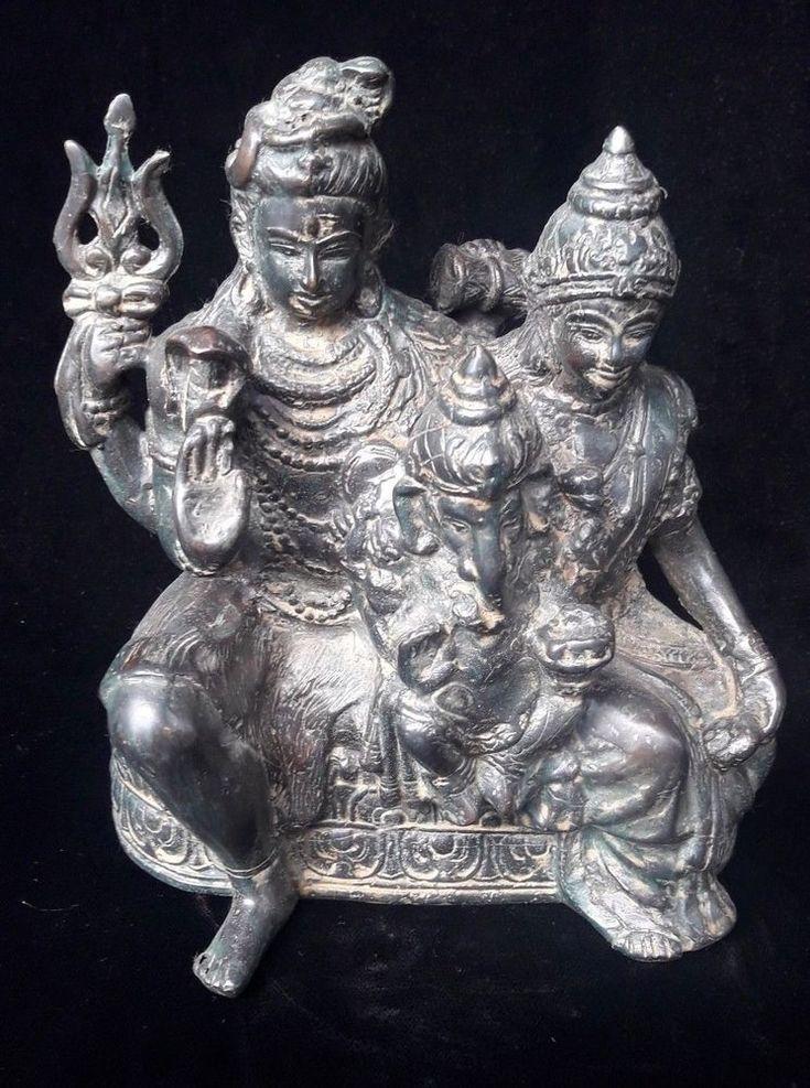 Shiva Family Hindu God Shiva Parwati Ganesh Bronze Yoga Fine Art Cobra Snake