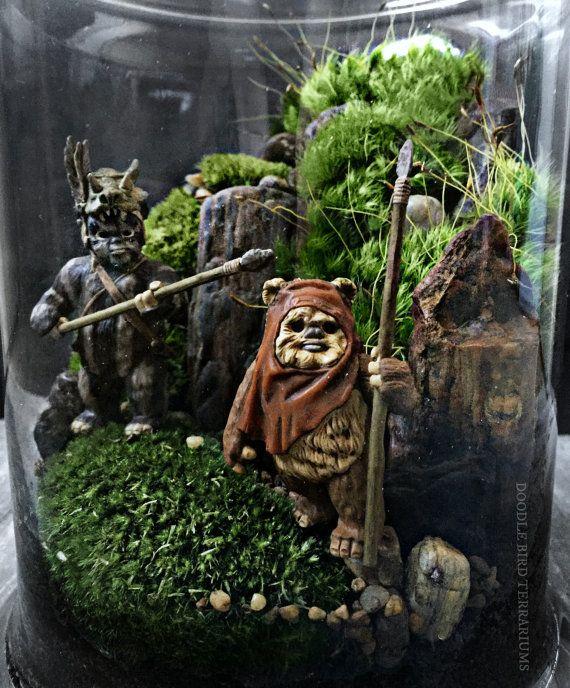 Star Wars Episode VI VII Terrarium: Yoda and Ewoks by DoodleBirdie