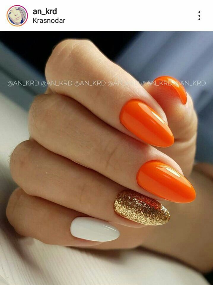 Orange White And Gold Shellac Nails Fall Orange Nails Gold Nails