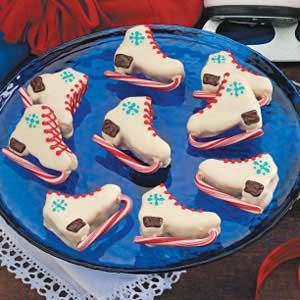 Ice skate Brownies covered in chocolate with candy cane blade and icing