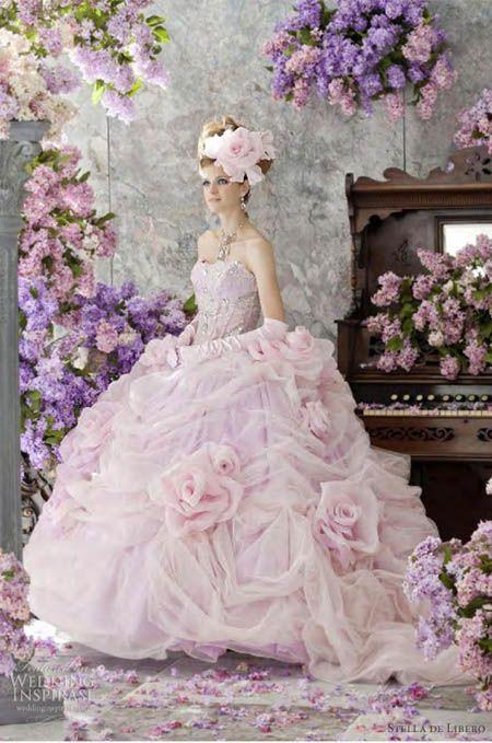 These are the most amazing pink wedding dresses http://inwhiteblog.com