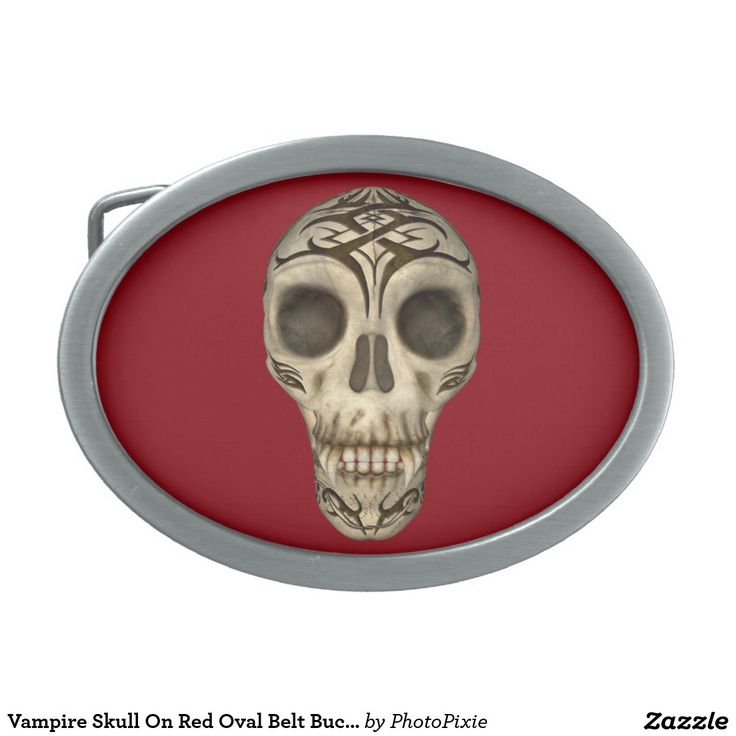 Vampire Skull On Red Oval Belt Buckle