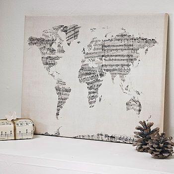 sheet music world map art print by artpause | notonthehighstreet.com
