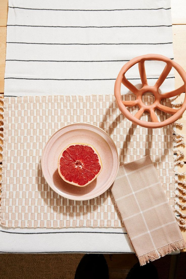 Minna Grid Napkin Peach in 2020 Craft preservation